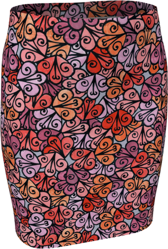 The Autumn Fitted Skirt in Reds-Fitted Skirt-Clash Patterns by Jennifer Akkermans