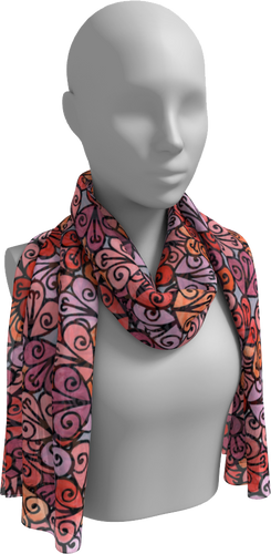 The Autumn Long Scarf in Reds-Long Scarf-Clash Patterns by Jennifer Akkermans