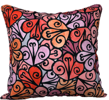 "Load image into Gallery viewer, The Autumn Pillow in Reds-18"" x 18"" Pillow Case-Clash Patterns by Jennifer Akkermans"