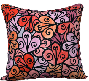 "The Autumn Pillow in Reds-18"" x 18"" Pillow Case-Clash Patterns by Jennifer Akkermans"