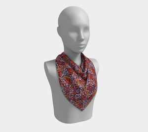The Autumn Square Scarf in Reds