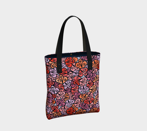 The Autumn Tote Bag in Reds-Clash Patterns