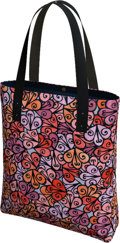The Autumn Tote Bag in Reds-Tote Bag-Clash Patterns by Jennifer Akkermans