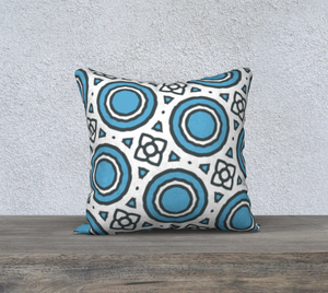 The Beth Reversible Pillow in Blue and White-Clash Patterns