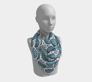 The Beth Square Scarf in Blue and White