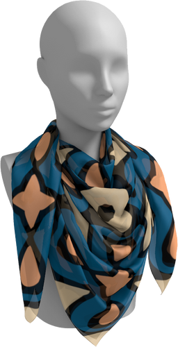 The Bold Jane Square Scarf in Blue and Beige-Square Scarf-Clash Patterns by Jennifer Akkermans