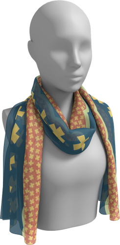 The Cora Long Scarf in Blue and Orange-Long Scarf-Clash Patterns by Jennifer Akkermans