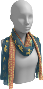 The Cora Long Scarf in Blue and Orange