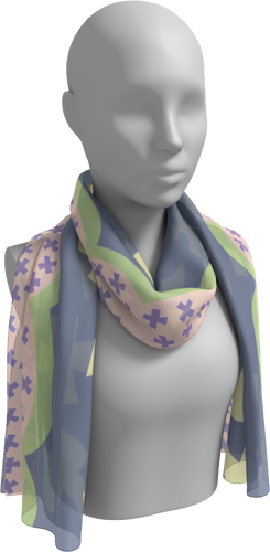 The Cora Long Scarf in Purple and Green-Long Scarf-Clash Patterns by Jennifer Akkermans