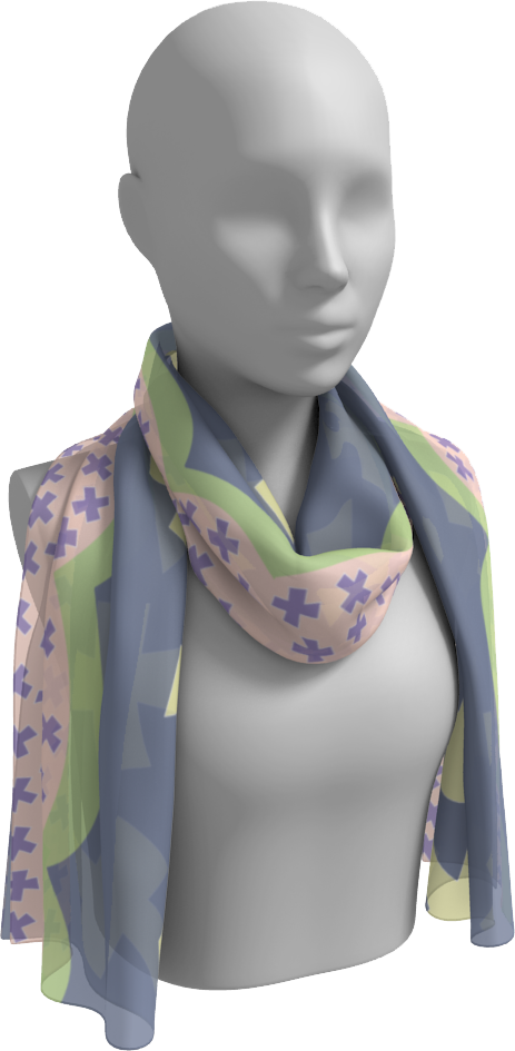 The Cora Long Scarf in Purple and Green