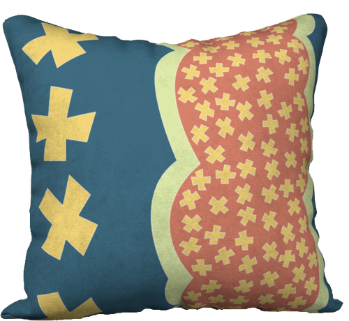 The Cora Pillow in Blue and Orange-18