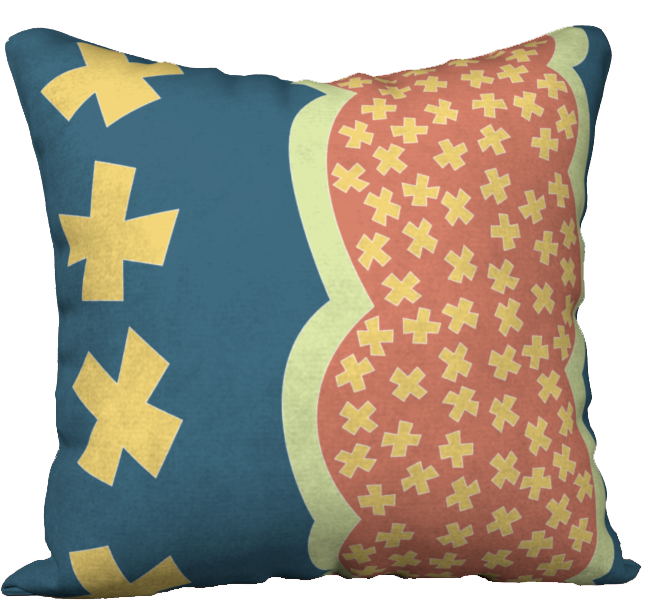 The Cora Pillow in Blue and Orange