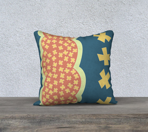 The Cora Pillow in Blue and Orange-Clash Patterns