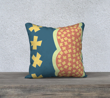 Load image into Gallery viewer, The Cora Pillow in Blue and Orange-Clash Patterns