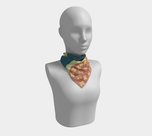 The Cora Square Scarf in Blue and Orange