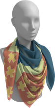 Load image into Gallery viewer, The Cora Square Scarf in Blue and Orange-Square Scarf-Clash Patterns by Jennifer Akkermans