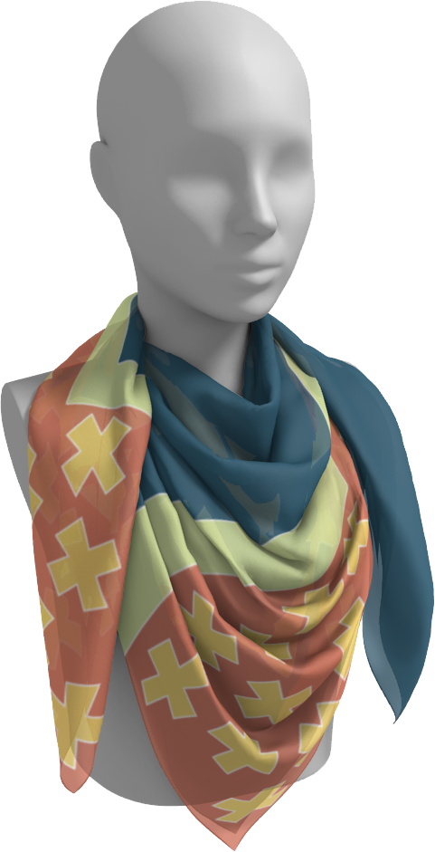 The Cora Square Scarf in Blue and Orange-Square Scarf-Clash Patterns by Jennifer Akkermans