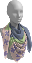 Load image into Gallery viewer, The Cora Square Scarf in Purple and Green