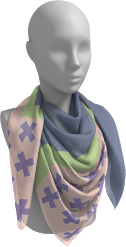The Cora Square Scarf in Purple and Green-Square Scarf-Clash Patterns by Jennifer Akkermans