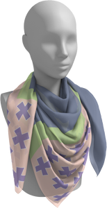 The Cora Square Scarf in Purple and Green