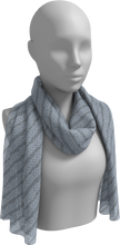 Load image into Gallery viewer, The Darlene Diagonal Long Scarf in Grey-Long Scarf-Clash Patterns by Jennifer Akkermans