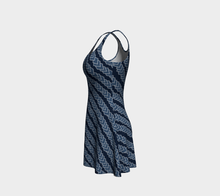 Load image into Gallery viewer, The Darlene Flare Dress in Navy-Clash Patterns