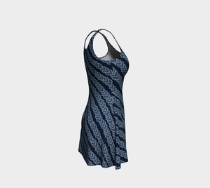The Darlene Flare Dress in Navy-Clash Patterns