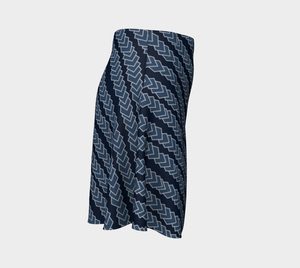 The Darlene Flare Skirt in Navy-Clash Patterns
