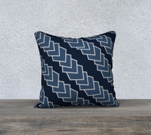 Load image into Gallery viewer, The Darlene Reversible Pillow in Navy-Clash Patterns