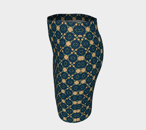 The Davina Fitted Skirt in Navy and Green-Clash Patterns