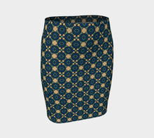 Load image into Gallery viewer, The Davina Fitted Skirt in Navy and Green-Clash Patterns