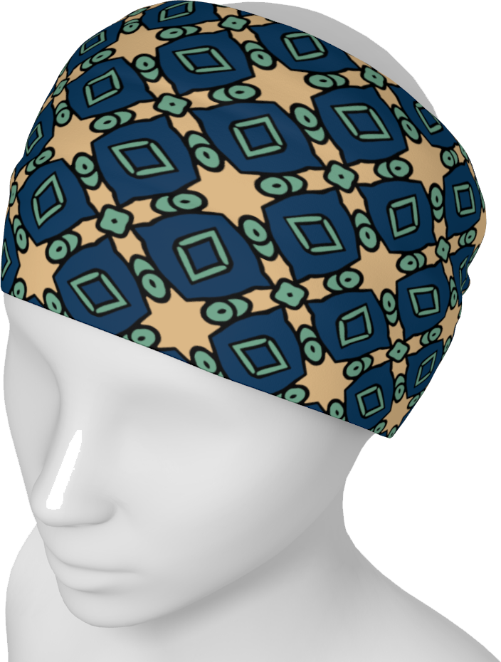 The Davina Headband in Navy and Green