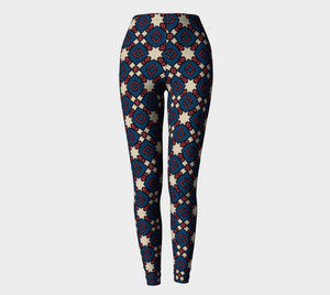 The Davina Leggings in Navy and Red-Clash Patterns