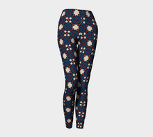 Load image into Gallery viewer, The Davina Leggings in Navy and Red-Clash Patterns