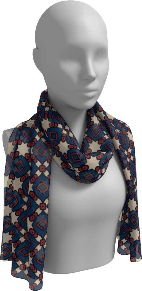 The Davina Long Scarf in Navy and Red