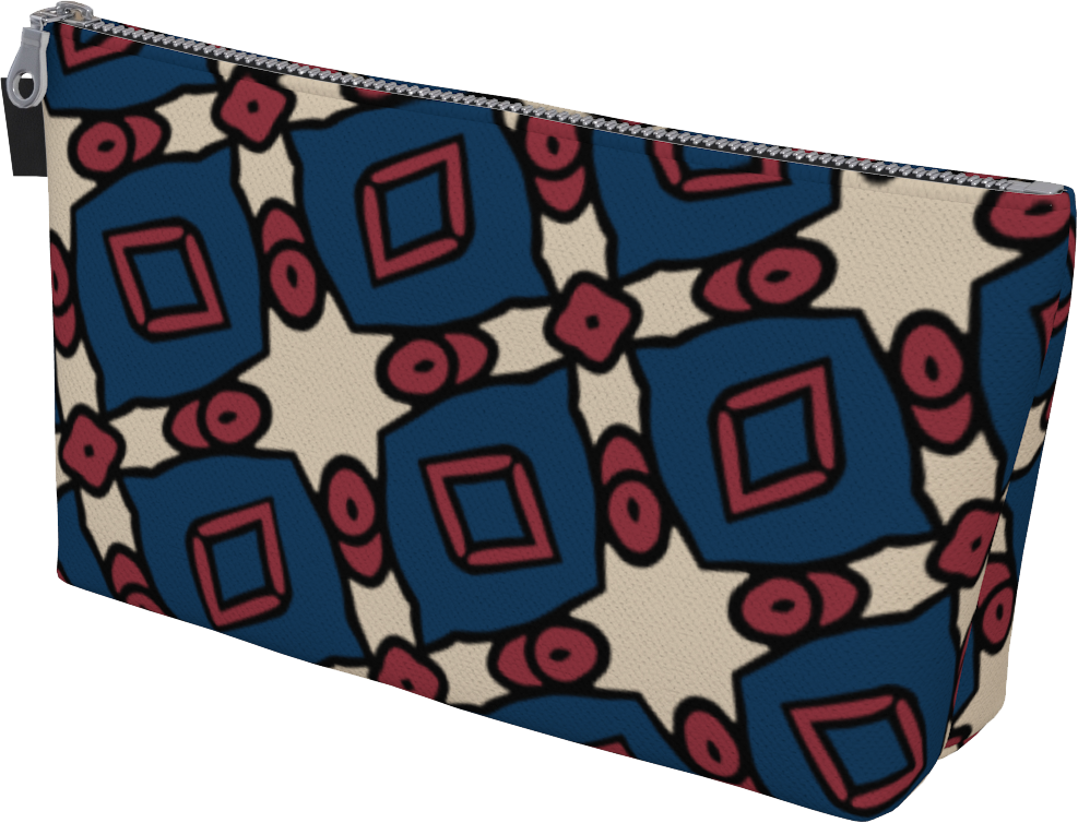 The Davina Makeup Bag in Navy and Red