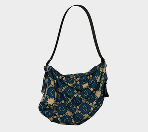 The Davina Origami Bag in Navy and Green-Clash Patterns