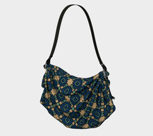 Load image into Gallery viewer, The Davina Origami Bag in Navy and Green-Clash Patterns