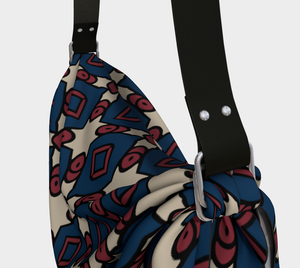 The Davina Origami Bag in Navy and Red-Clash Patterns