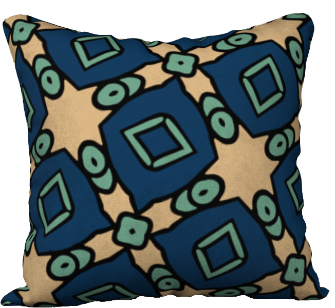 The Davina Reversible Pillow in Navy and Green