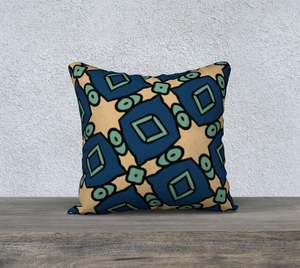 The Davina Reversible Pillow in Navy and Green-Clash Patterns