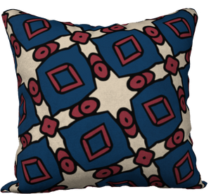 The Davina Reversible Pillow in Navy and Red
