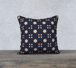 The Davina Reversible Pillow in Navy and Red-Clash Patterns