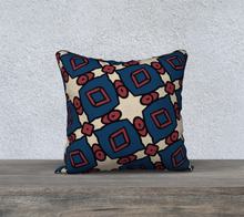 Load image into Gallery viewer, The Davina Reversible Pillow in Navy and Red-Clash Patterns