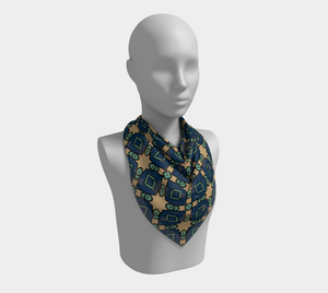 The Davina Square Scarf in Navy and Green