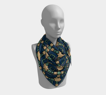 Load image into Gallery viewer, The Davina Square Scarf in Navy and Green