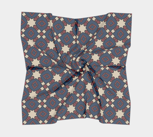 The Davina Square Scarf in Navy and Red