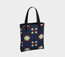 Load image into Gallery viewer, The Davina Tote Bag in Navy and Red-Clash Patterns