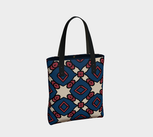The Davina Tote Bag in Navy and Red-Clash Patterns