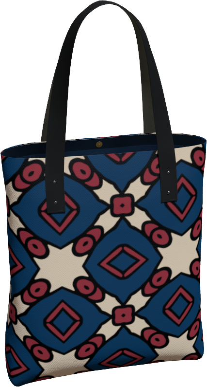 The Davina Tote Bag in Navy and Red